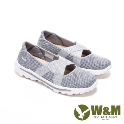 W&M 圓頭金蔥飛織布交叉彈力帶娃娃鞋 女鞋-灰銀蔥(另有黑金蔥 粉銀蔥)