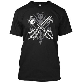 PSP PS3 Kingdom Hearts キングダムハーツ ソラ メンズ シャツ カットソー Tシャツ レディース 丸首 綿製 半袖 面白い プリント 黒 ブラック