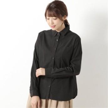 張りのあるコットン素材のハイカウントシャツ ブラック M L LL 3L
