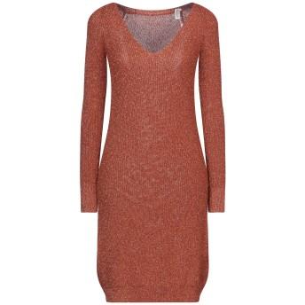 《セール開催中》SOUVENIR レディース ミニワンピース&ドレス 赤茶色 S/M レーヨン 70% / 金属化ポリエステル 15% / ポリエステル 15%