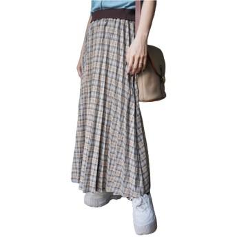 Beige Check Pleats Long Easy Skirt チェック柄 伸縮 aw 秋冬 ロングスカート ADG A.D.G エーディージー