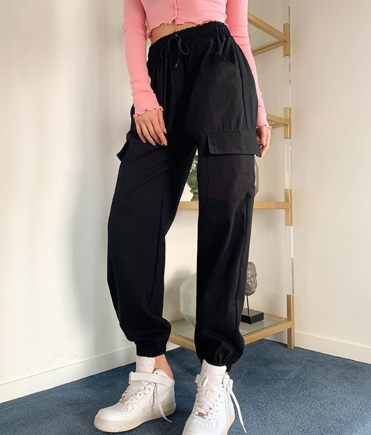 韓國空運 - 率性舒適 抽繩雙口袋縮口褲(3色) 長褲