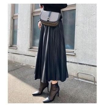リエンダ rienda Shiny Pleats J/W Long SK (ブラック)