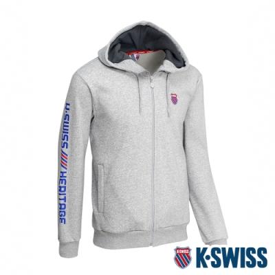 K-SWISS Shield Logo刷毛連帽外套 女 淺灰