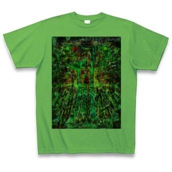 祁◆アート◆文字◆ロゴ◆ヘビーウェイト◆半袖◆Tシャツ◆ブライトグリーン◆各サイズ選択可
