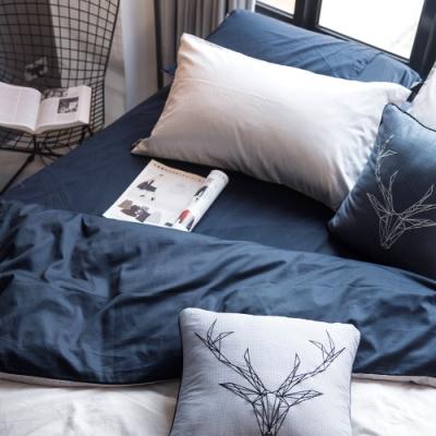 OLIVIA  GRAY X NAVY 特大雙人床包美式枕套三件組 200織精梳純棉 台灣製