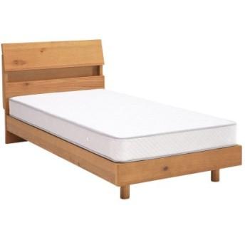 木感を楽しめるオーク材のコンセント付きベッド  ★シングル