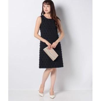 MISS J/ミス ジェイ フラワーカットジャカードドレス ネイビー 40