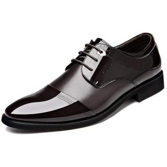 [VRGT] メンズ ビジネスシューズ 24.0cm オフィス レースアップ 紳士靴 通勤 ブラウン フォーマル リクルート ドレスシューズ 冠婚葬祭 疲れない インソール 革靴 通気 カジュアル 大人 パーティー セレモニー 入社式 成人式 滑り止め ギフト