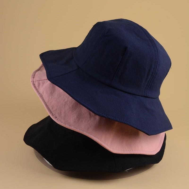 [帽帽屋] 春夏新款盆帽素色 波浪邊布帽 折疊韓版防曬遮陽漁夫帽 遮臉帽子
