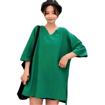 Boxuan レディース 半袖 ゆったり トップス 大きいサイズカジュアル 人気 Vネック Tシャツ