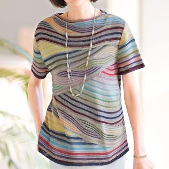 ベルーナ 抄繊糸かすり使いサマーセーター L レディース