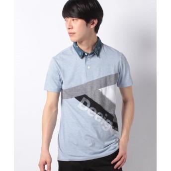 【49%OFF】 デシグアル ポロシャツショート袖 メンズ ブルー系 S 【Desigual】 【タイムセール開催中】