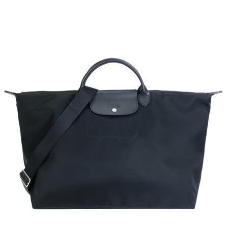 LONGCHAMP LE PLIAGE NÉO系列新款厚尼龍奔馬織紋寬背帶短把手提 斜背旅行袋 大 黑