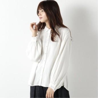 綿ビエラ丸襟シャツ オフホワイト M L LL