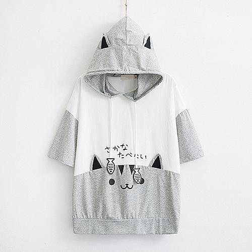 *ORead*日系森女卡通貓魚印花連帽短袖T恤(2色F碼)