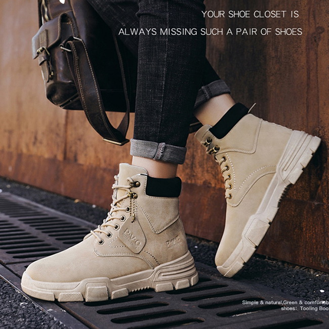 FOFU-靴子復古英倫風高筒鞋子百搭韓版工裝馬丁靴【09S2469】