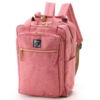 ママバッグにも◎18L杢調ポリスクエアリュック ピンク