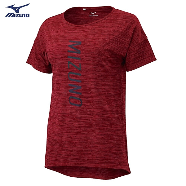 MIZUNO 女裝 短袖 上衣 慢跑 路跑 吸汗快乾 炫光燙印 玫瑰紅【運動世界】J2TA020465