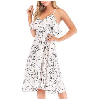 ビーチドレス フリル付きハイウエストとスウィングレディースセクシーバックレスドレスビーチスカートとのカジュアルドレススリング 休暇ビーチのドレス (色 : White, Size : M)