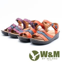 W&M三線拚色魔鬼氈黏涼鞋 女鞋 - 紫、橘紅(2色)