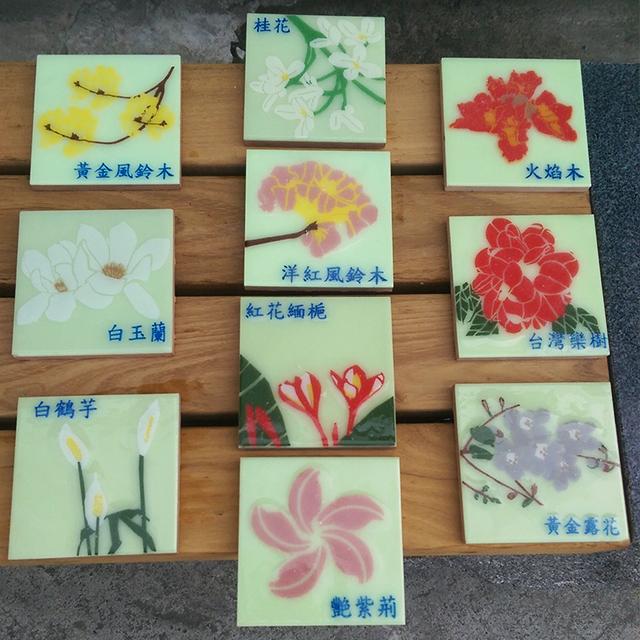 自發光花卉磚 10x10x0.9cm
