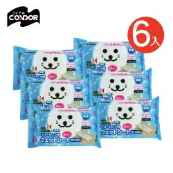 日本山崎 小海豹地板清潔抗菌用濕拖巾20張/包-6入組