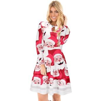 MEIDELE JP 女性の長袖ラウンド ネック プリント ドレス カジュアル ドレス (Size : M)