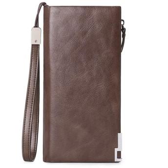 男性用スリムマネークリップウォレット、 レザーメンズRFIDマルチカードオーガナイザーポケットクリップお金でスリム二つに折り畳めるウォレットブロック (Color : Brown)