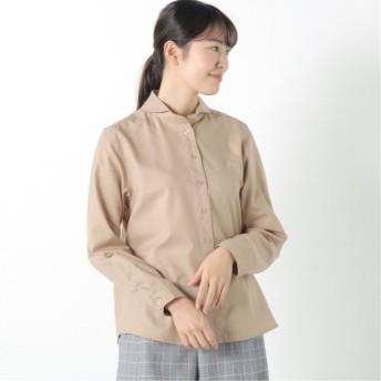 防花粉加工の丸襟シャツ ベージュ M L LL 3L