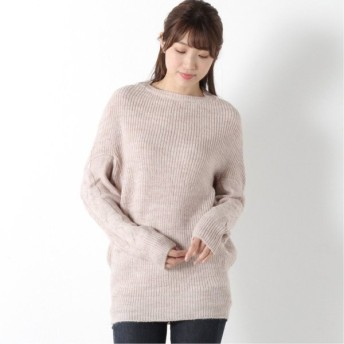 ウール混で暖か◎袖ケーブル編みニットプルオーバー オフホワイト M L