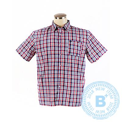 加大尺碼31-81368短袖襯衫-紅藍