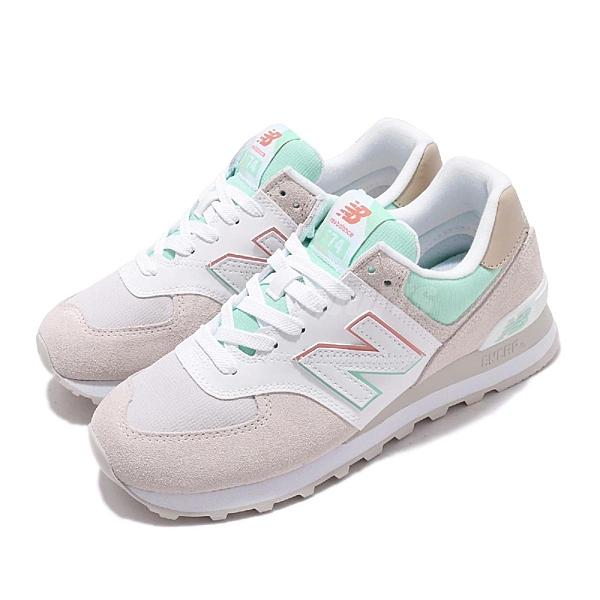New Balance 休閒鞋 574 麂皮 米色 粉紅 綠 女鞋 復古鞋 【ACS】 ML574SCED