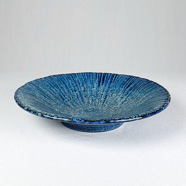 日本陶瓷 花紺十草 中缽-20cm 餐盤 餐碟 餐碗 陶盤 陶缽