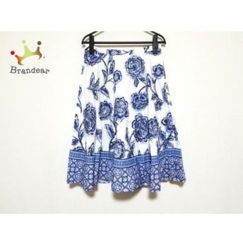 マッキントッシュ MACKINTOSH スカート サイズ38 M レディース 美品 白×ブルー×マルチ 花柄 新着 20200310
