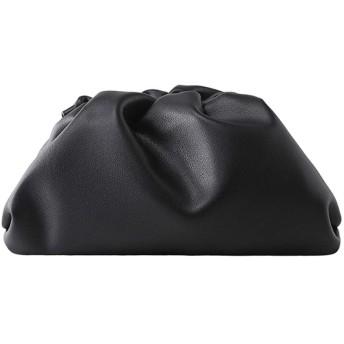 ショルダーバッグ レディース レザー シンプル 肩掛け 斜めがけ団子バッグ軽量 人気 通勤 旅行用 (L-Black)