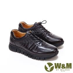W&M 超軟羊皮綁帶厚底鞋休閒鞋 男鞋 -深咖(另有黑)