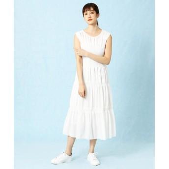 LUMINOSO COMMECA/ルミノーゾ・コムサ ティアード プリーツ ドレス ホワイト 11号
