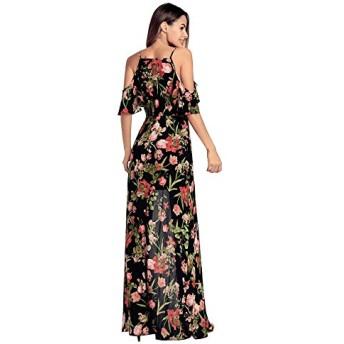 MEIDELE JP 女性のストラップVネック ハイ ウエスト プリント ドレス花スプリット ドレス (Color : Black, Size : L)