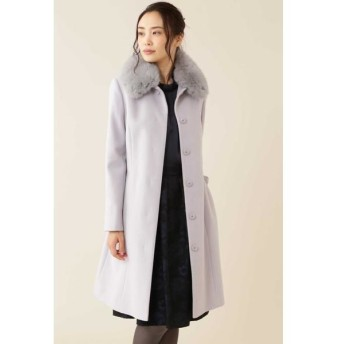 NATURAL BEAUTY/ナチュラルビューティー カシミヤ混フォックスファー襟ロングウールコート グレー2 40