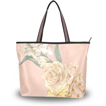 トートバッグ ハンドバッグ 手提げ 大容量 ローズ バラ 花柄 かわいい レディース a4 肩掛けバッグ 学生 通勤 おしゃれ 通学
