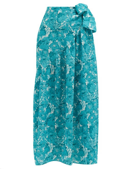 Adriana Degreas - Floral-print Silk-crepe Wrap Skirt - Womens - Blue Print
