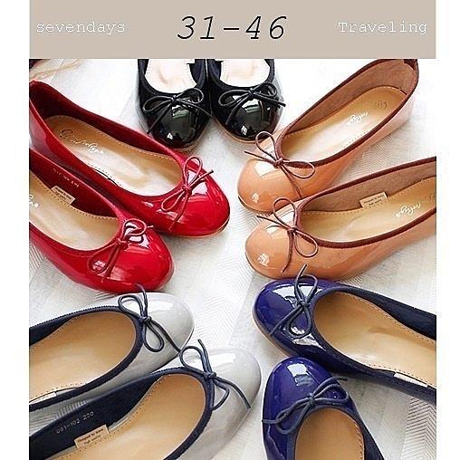 大尺碼女鞋小尺碼女鞋圓頭漆皮經典芭蕾舞鞋蝴蝶結娃娃鞋包鞋平底鞋黑色紅色藍色灰色棕色(31-46)