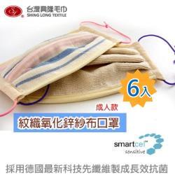 重複性口罩  紋織氧化鋅紗布口罩(單入X6)台灣興隆毛巾製 (雙層織造/輕膚性佳) 抗菌纖維