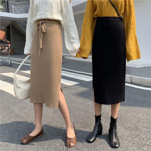 SaSa 韓國風百搭高腰開叉裙針織單品長裙