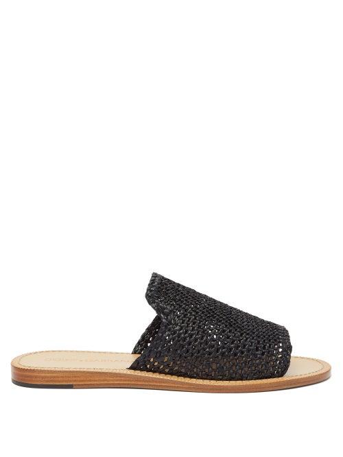 Dolce & Gabbana - Braided Faux-raffia Slides - Mens - Black