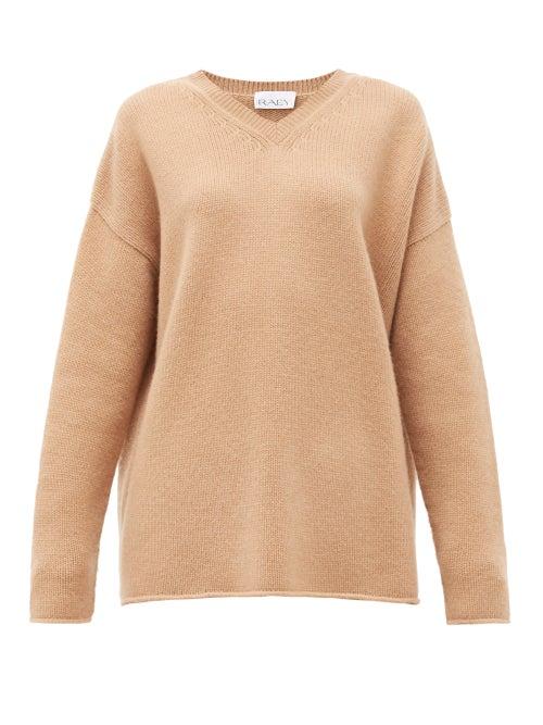 Raey - Dip-hem Knitted Cashmere Sweater - Womens - Beige