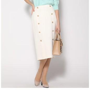 【J Lounge:スカート】ツイードボタン使いタイトスカート
