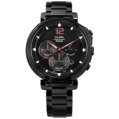 ALBA 日系原創時尚 礦石強化玻璃 日期 防水100米 不鏽鋼手錶-鍍黑/44mm