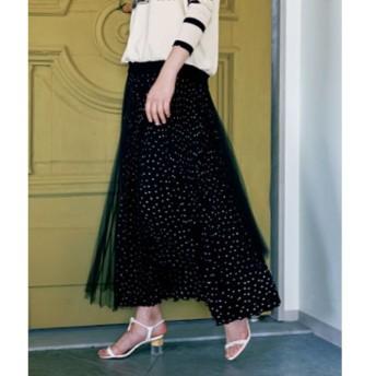 BEARDSLEY / ビアズリー ドット×チュールプリーツスカート